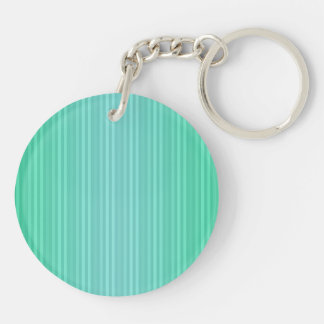 Vertical Stripes Aquamarine Blue Green Teal Double-Sided Round Acrylic Key Ring