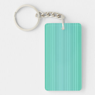 Vertical Stripes Aquamarine Blue Green Teal Rectangular Acrylic Key Chain
