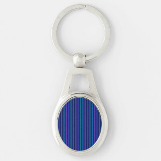 Vertical Stripes Blue Green Purple Silver-Colored Oval Key Ring