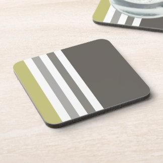 Vertical Stripes in Masculine Color Scheme Coaster