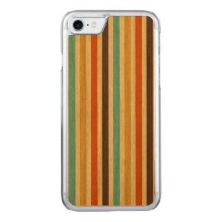 Vertical Stripes Retro Colors Blue Yellow Red Carved iPhone 8/7 Case
