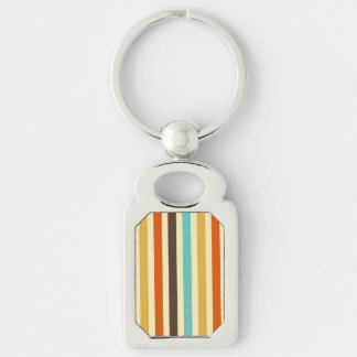 Vertical Stripes Retro Colors Blue Yellow Red Key Chains