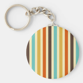 Vertical Stripes Retro Colours Blue Yellow Red Basic Round Button Key Ring