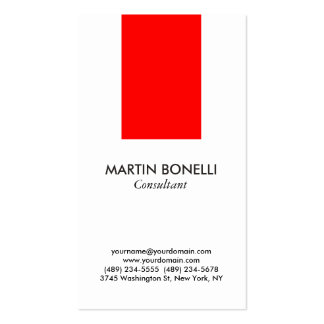Vertical Stylish White Red Standard Business Card