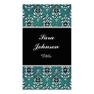Vertical teal damask classy elegant Business card