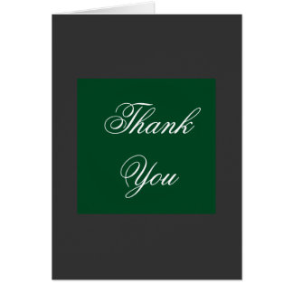 Vertical Thank You Gray Green Script Greeting Card