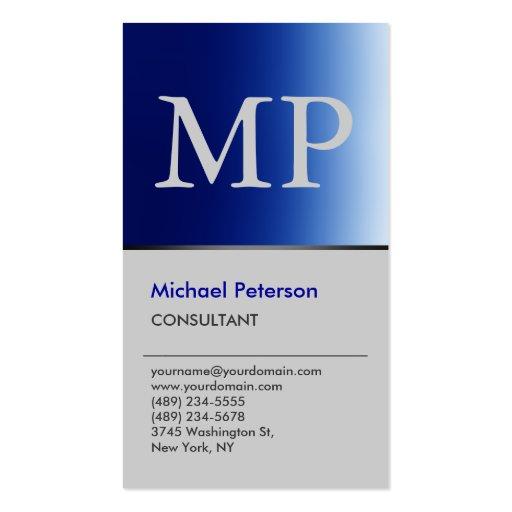 Vertical Trendy Blue Grey Monogram Business Card