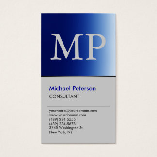 Vertical Trendy Blue Grey Monogram Business Card