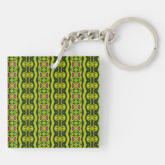 Vertical tribal pattern Double-Sided square acrylic key ring