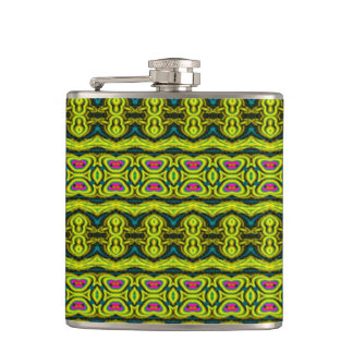 Vertical tribal pattern hip flask