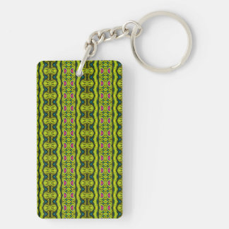 Vertical tribal pattern Double-Sided rectangular acrylic keychain