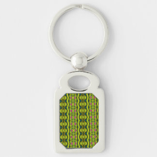 Vertical tribal pattern Silver-Colored rectangular metal keychain