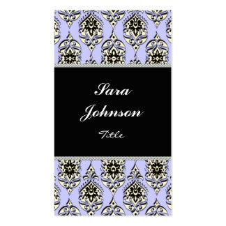 Vertical violet damask elegant Business card