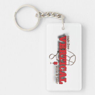 Vertical | wine & beer Double-Sided rectangular acrylic key ring