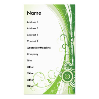VERTICLE GREEN ABSTRACT FLORAL BUSINESS CARDS