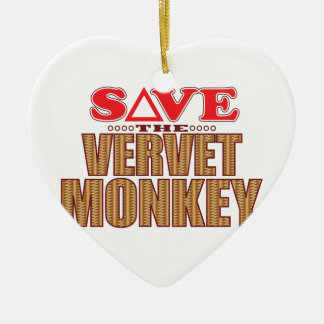 Vervet Monkey Save Christmas Ornament