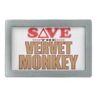 Vervet Monkey Save Rectangular Belt Buckles