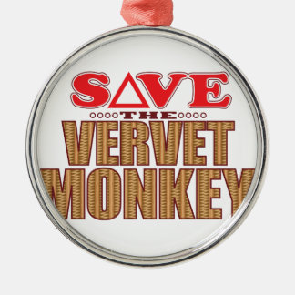 Vervet Monkey Save Silver-Colored Round Decoration