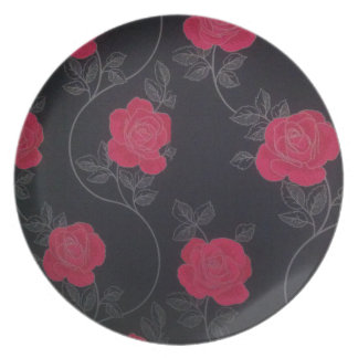 Very beautiful black and red flower Melamine Plate
