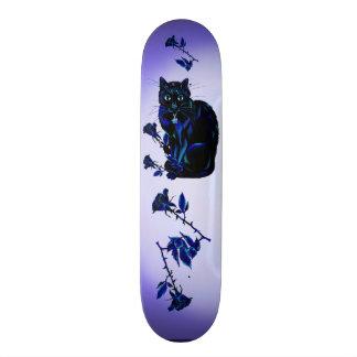 Very Black Cat and Roses Custom Skateboard