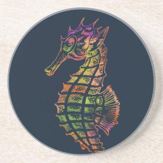Very colourful seahorse art coaster