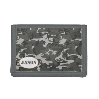 Very Cool Military Style Urban Camo With name tag Trifold Wallet