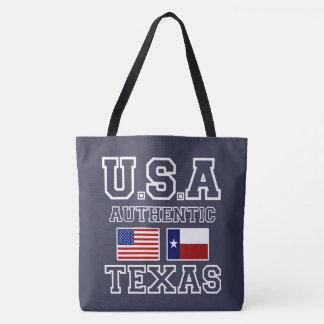 Very Cool Patriotic Authentic USA and Texas Flags Tote Bag