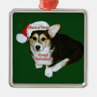 Very Corgi Christmas- Gimli Pup Premium Square Orn Christmas Ornament