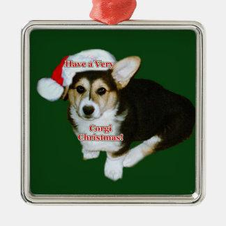 Very Corgi Christmas- Gimli Pup Premium Square Orn Christmas Ornament