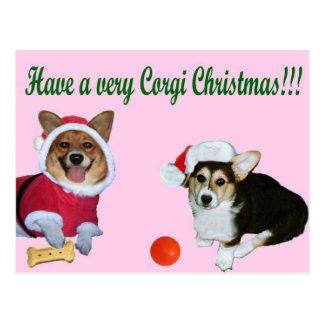 Very Corgi Christmas M & G Pink Postcard