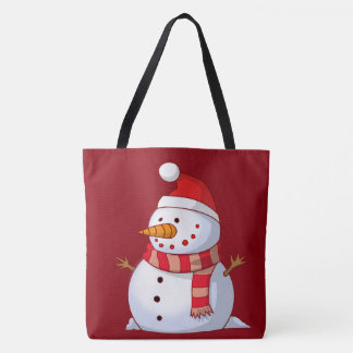 Very Cute Cartoon Snowman in Santa Hat with Scarf Tote Bag