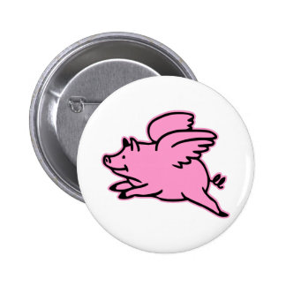 Very Cute Flying Pink Pig 6 Cm Round Badge
