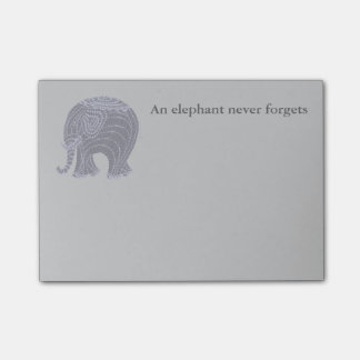 Very cute gray doodle elephant post-it notes