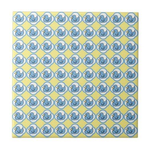 Very Cute Rubber Ducky Retro Pattern Ceramic Tile