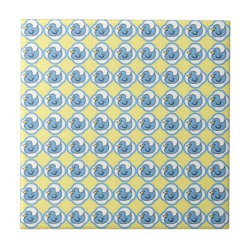 Very Cute Rubber Ducky Retro Pattern Tile