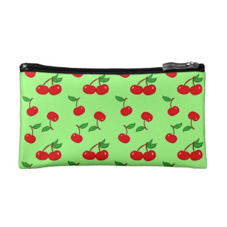 Very Dotty Cherry in Green Cosmetic Bag