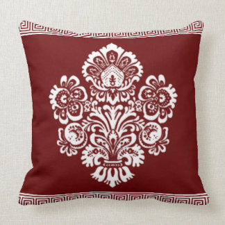 Very Elegant Floral Damask with Greek Key Border Throw Pillow