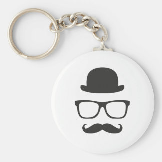 Very English Moustache Basic Round Button Key Ring