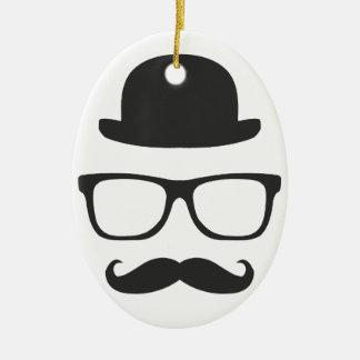Very English Moustache Ceramic Oval Decoration