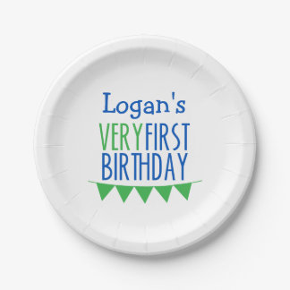Very First Birthday Bunting Blue Green Cake Plates 7 Inch Paper Plate