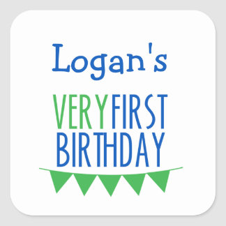 Very First Birthday Bunting Blue Green Square Sticker