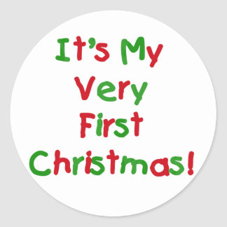 Very First Christmas Tshirts and Gifts Round Sticker