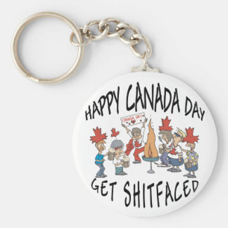 Very Funny Happy Canada Day Basic Round Button Key Ring