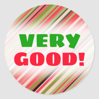 """VERY GOOD!"" + Watermelon-Inspired Stripes Sticker"