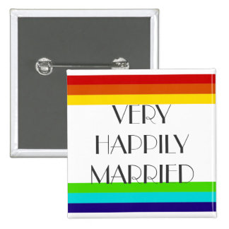Very Happily Married 15 Cm Square Badge