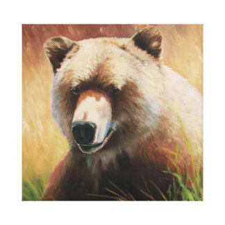 Very happy bear canvas print