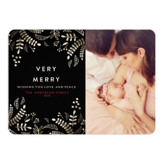 VERY MERRY BERRIES AND GOLD Christmas Card 13 Cm X 18 Cm Invitation Card