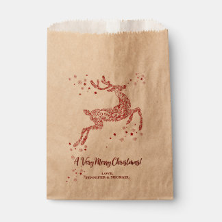 Very Merry Christmas Gilded Reindeer Personalised Favour Bags