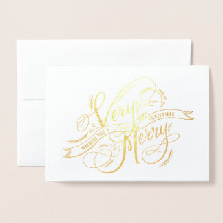 Very Merry Christmas Hand Lettering and Photo Foil Card