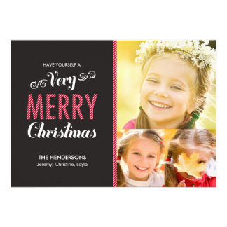 Very Merry Christmas Holiday Photo Cards Custom Invitations